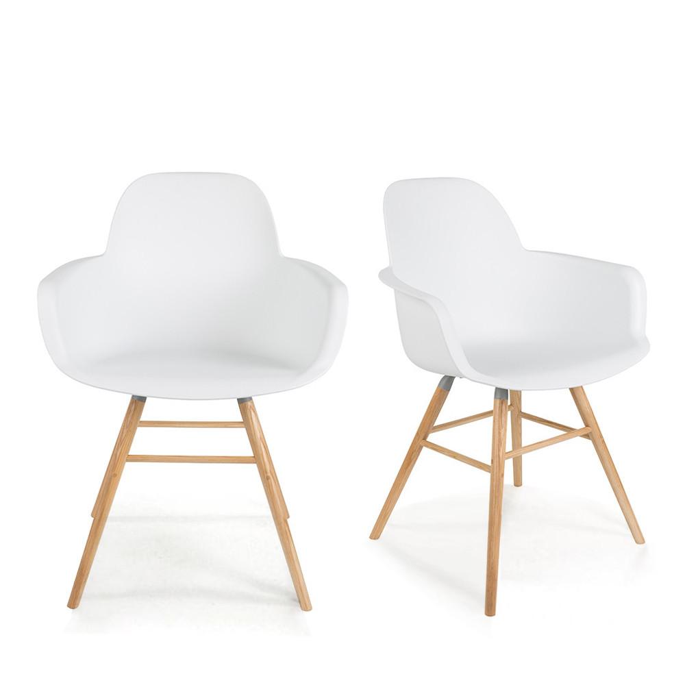 2 fauteuils de table en résine blanc