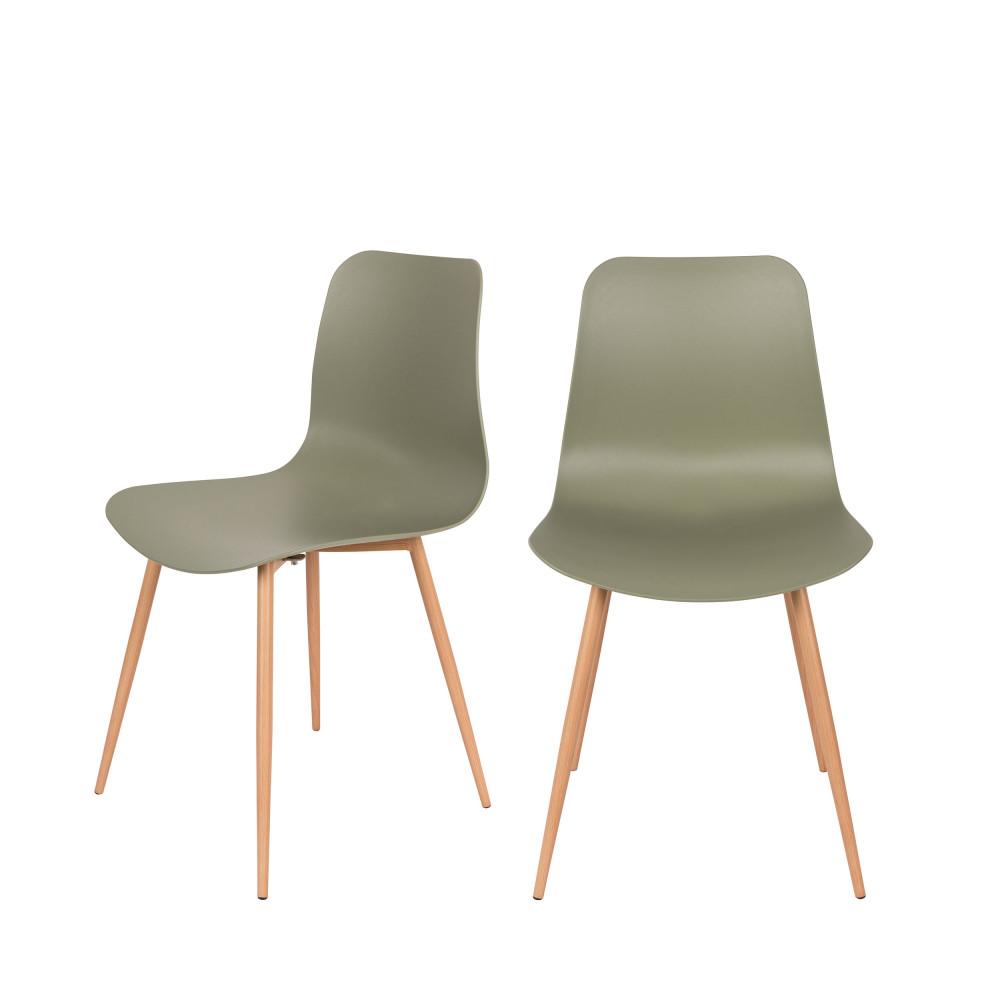 2 chaises en résine vert
