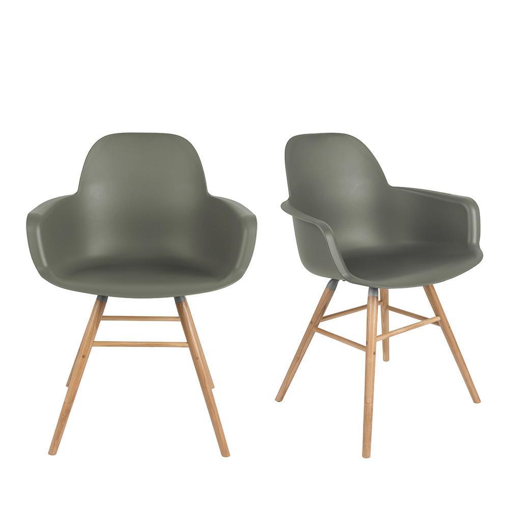 2 fauteuils de table en résine vert
