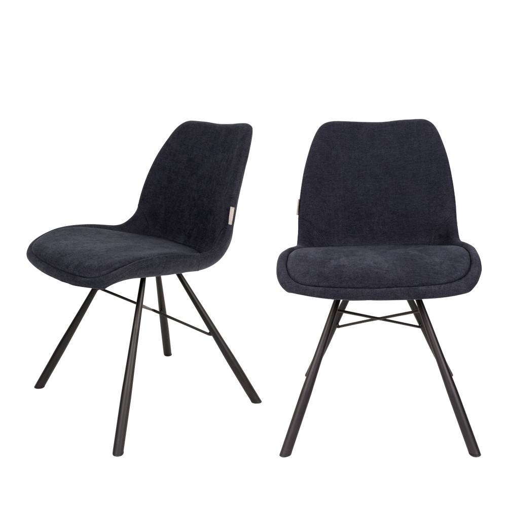 maison du monde 2 chaises tissu bleu marine