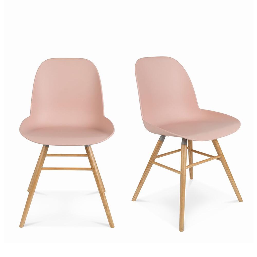 maison du monde 2 chaises résine et bois vieux rose