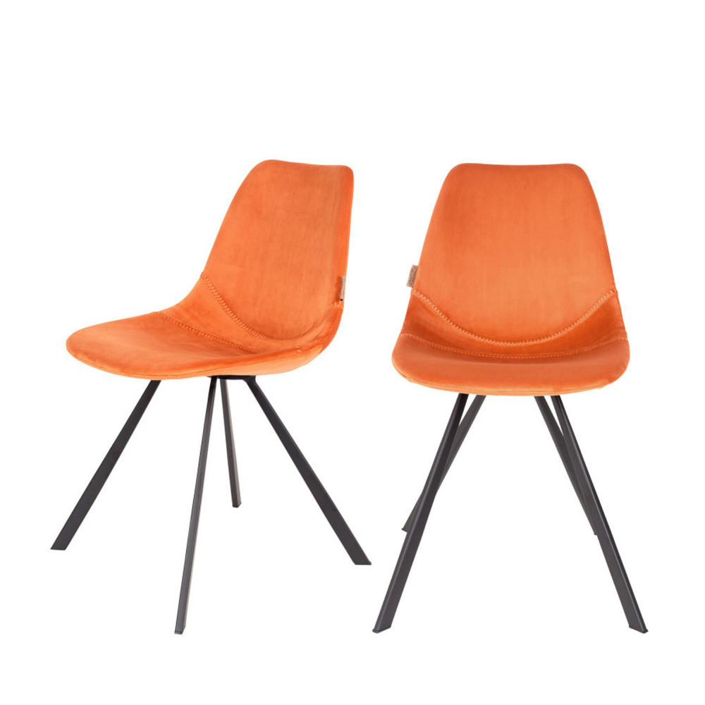 maison du monde 2 chaises en velours orange