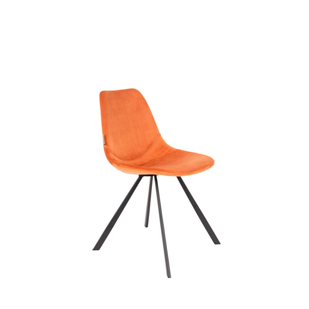2 chaises en velours orange
