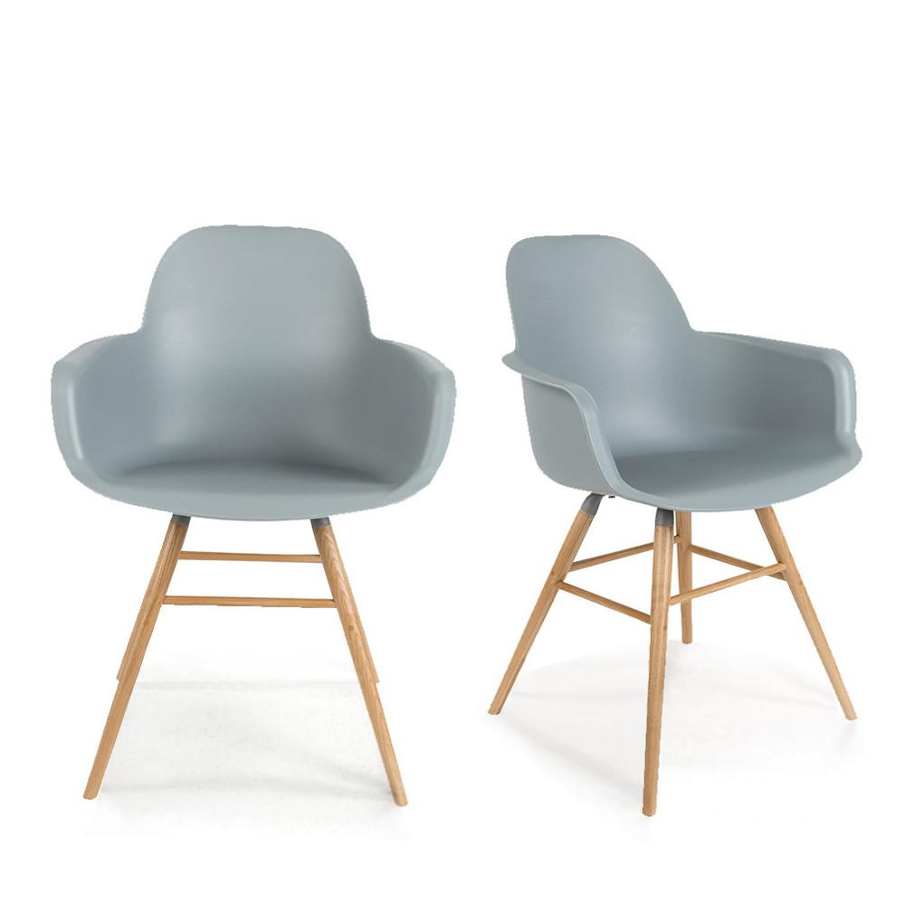 maison du monde 2 fauteuils de table en résine gris clair