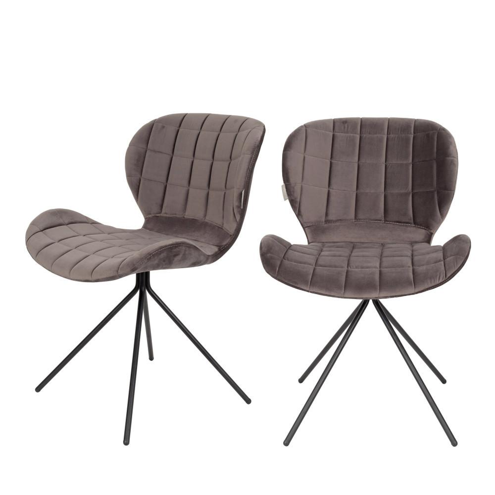 maison du monde 2 chaises velours gris