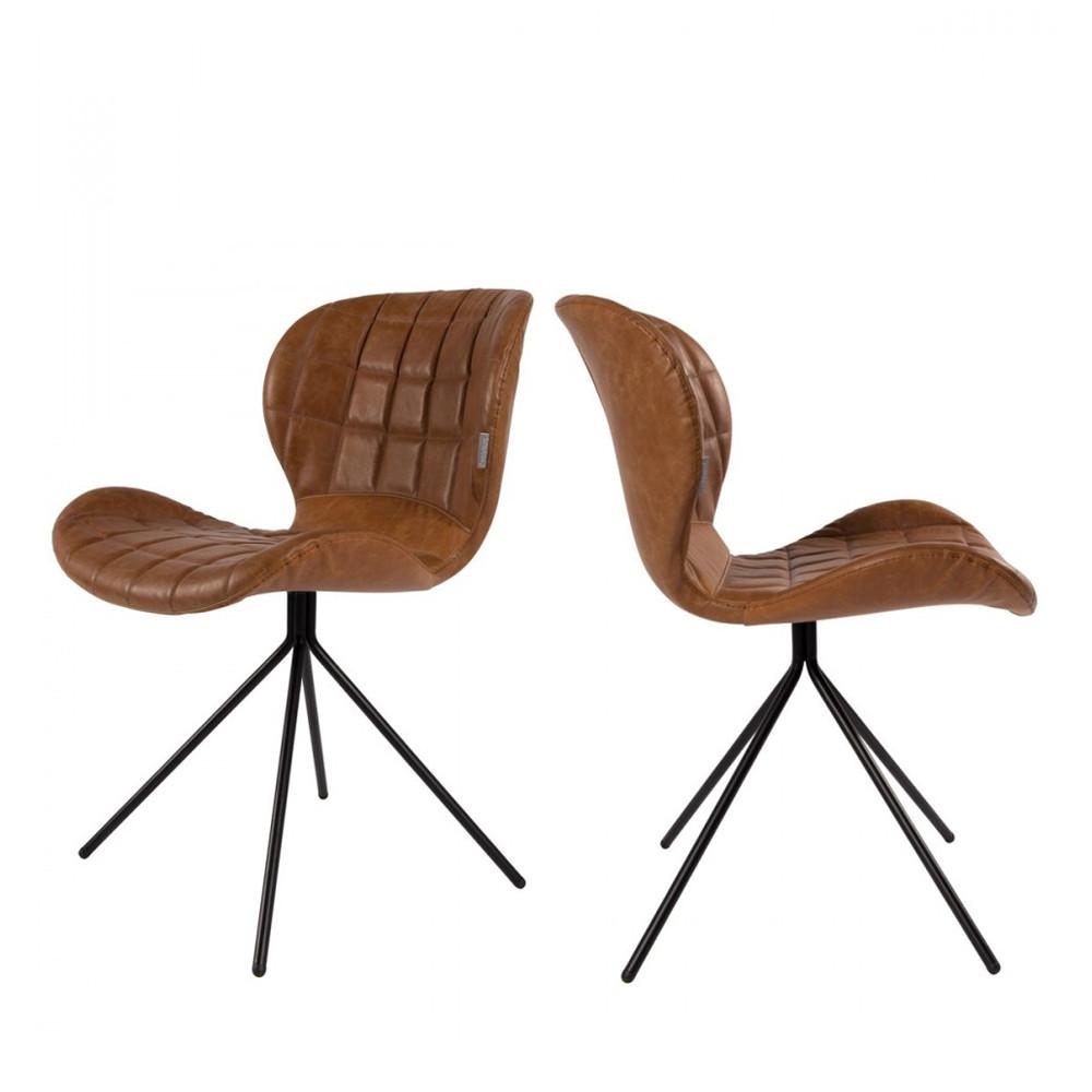 2 chaises design skin marron