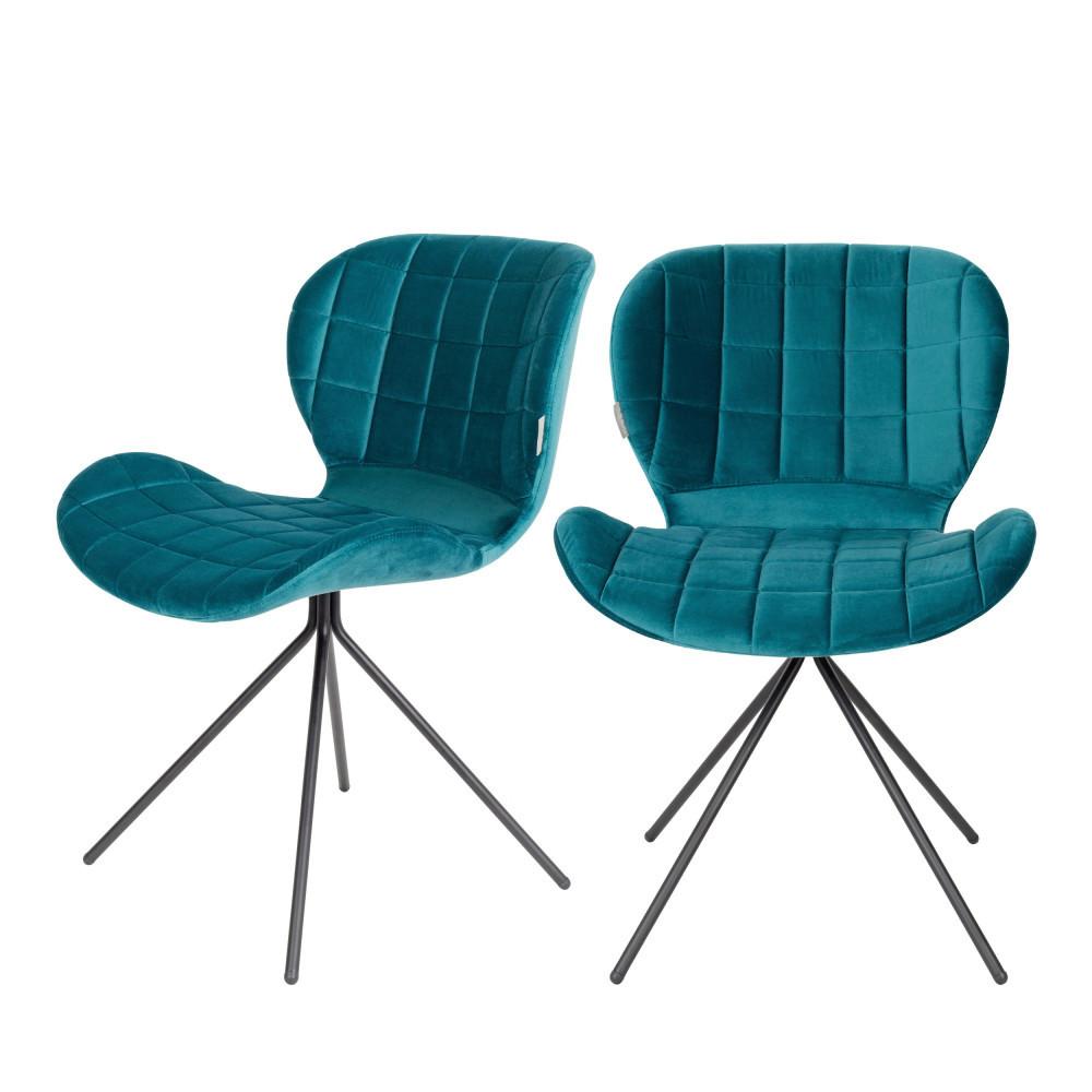 maison du monde 2 chaises velours bleu pétrole