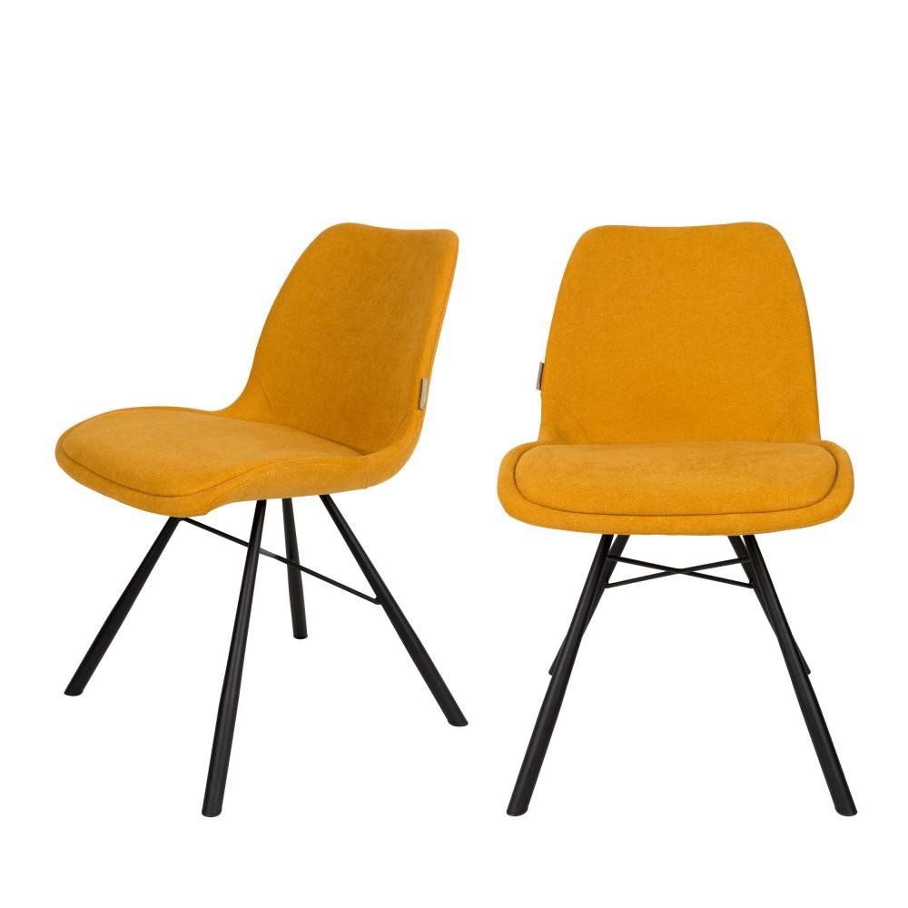 2 chaises tissu jaune moutarde