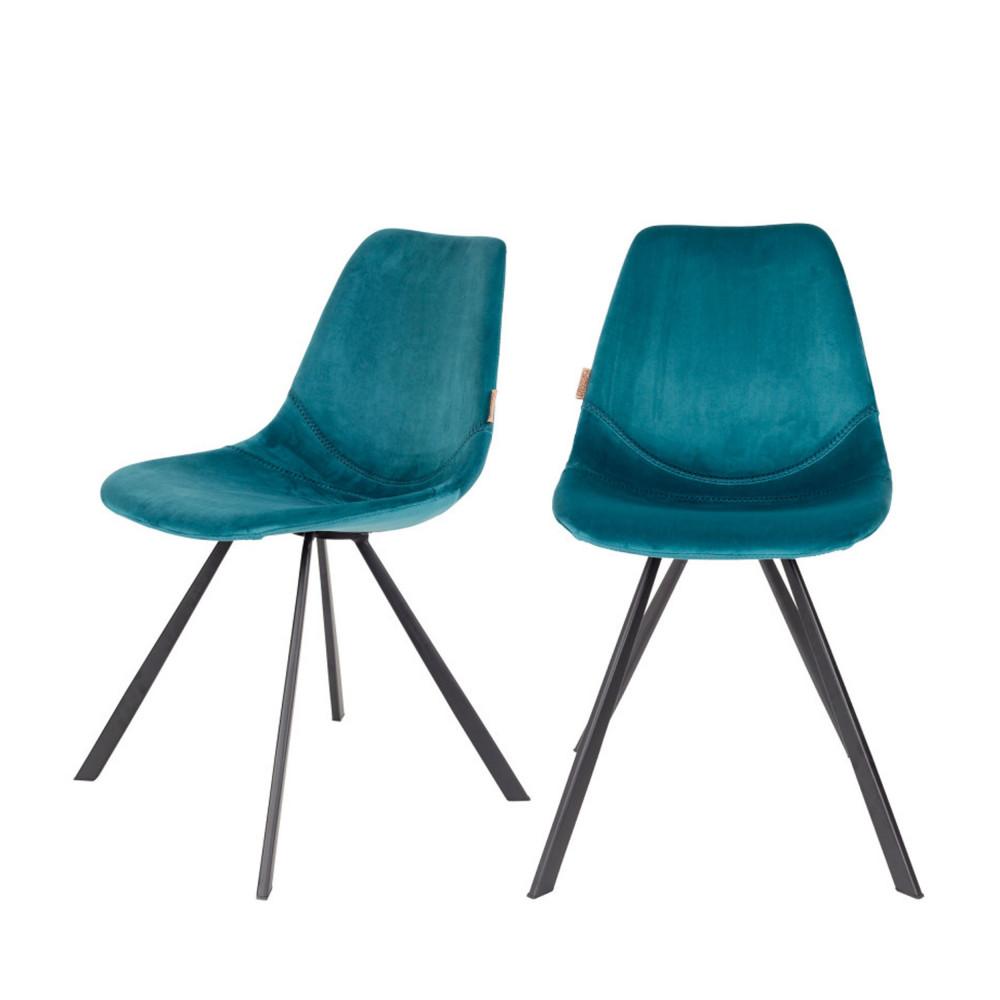 maison du monde 2 chaises en velours bleu pétrole