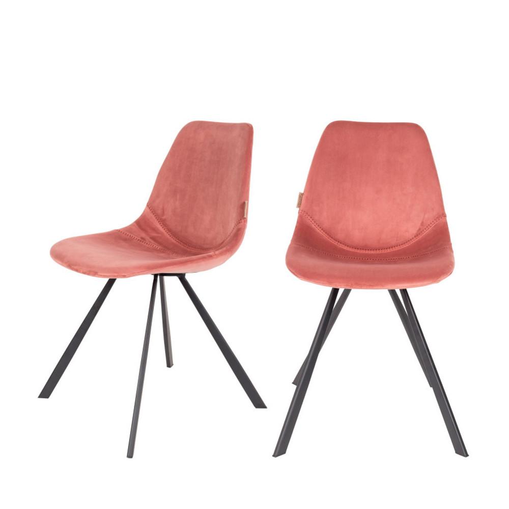 maison du monde 2 chaises en velours rose