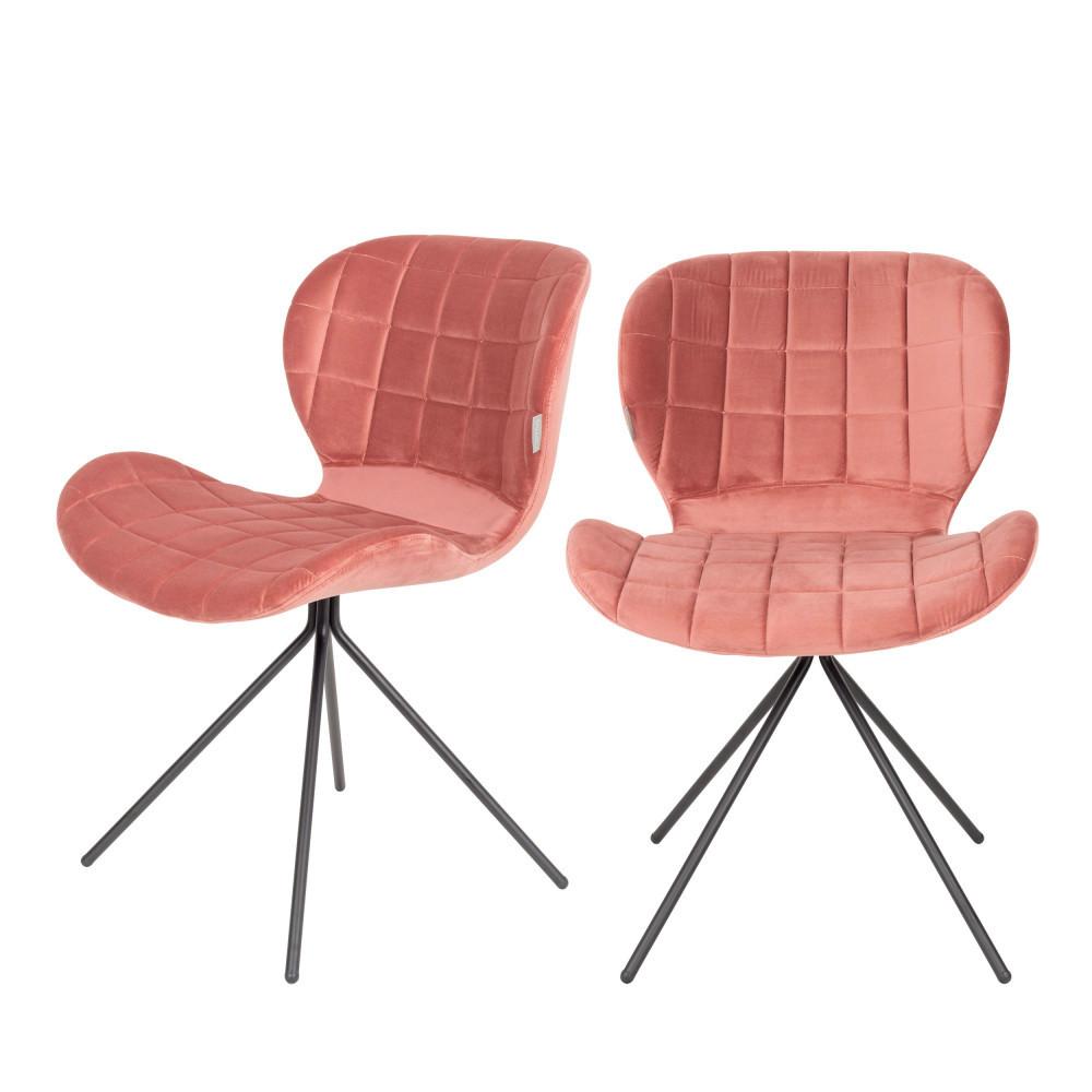 2 chaises velours rose