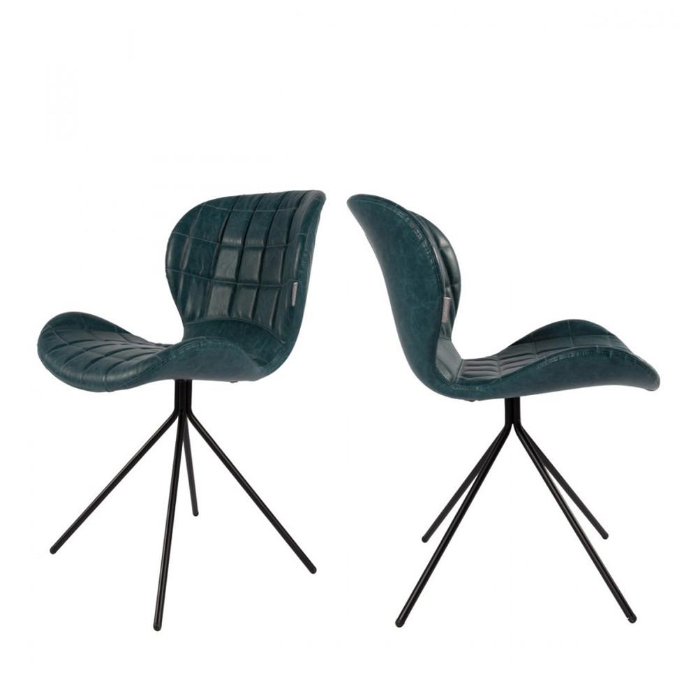 maison du monde 2 chaises design skin bleu pétrole