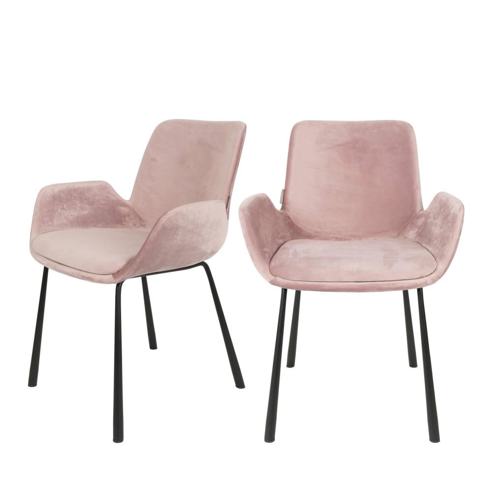 maison du monde 2 fauteuils de table en velours rose
