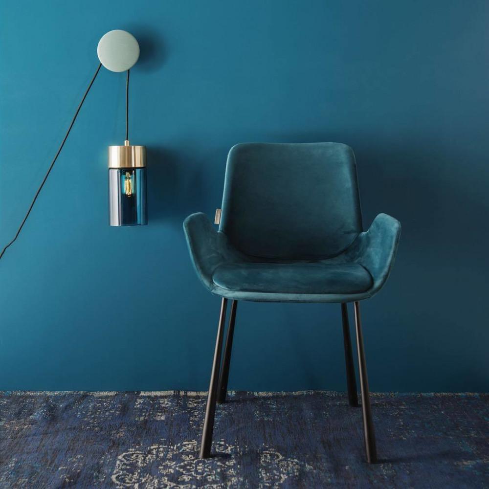 2 fauteuils de table en velours bleu pétrole