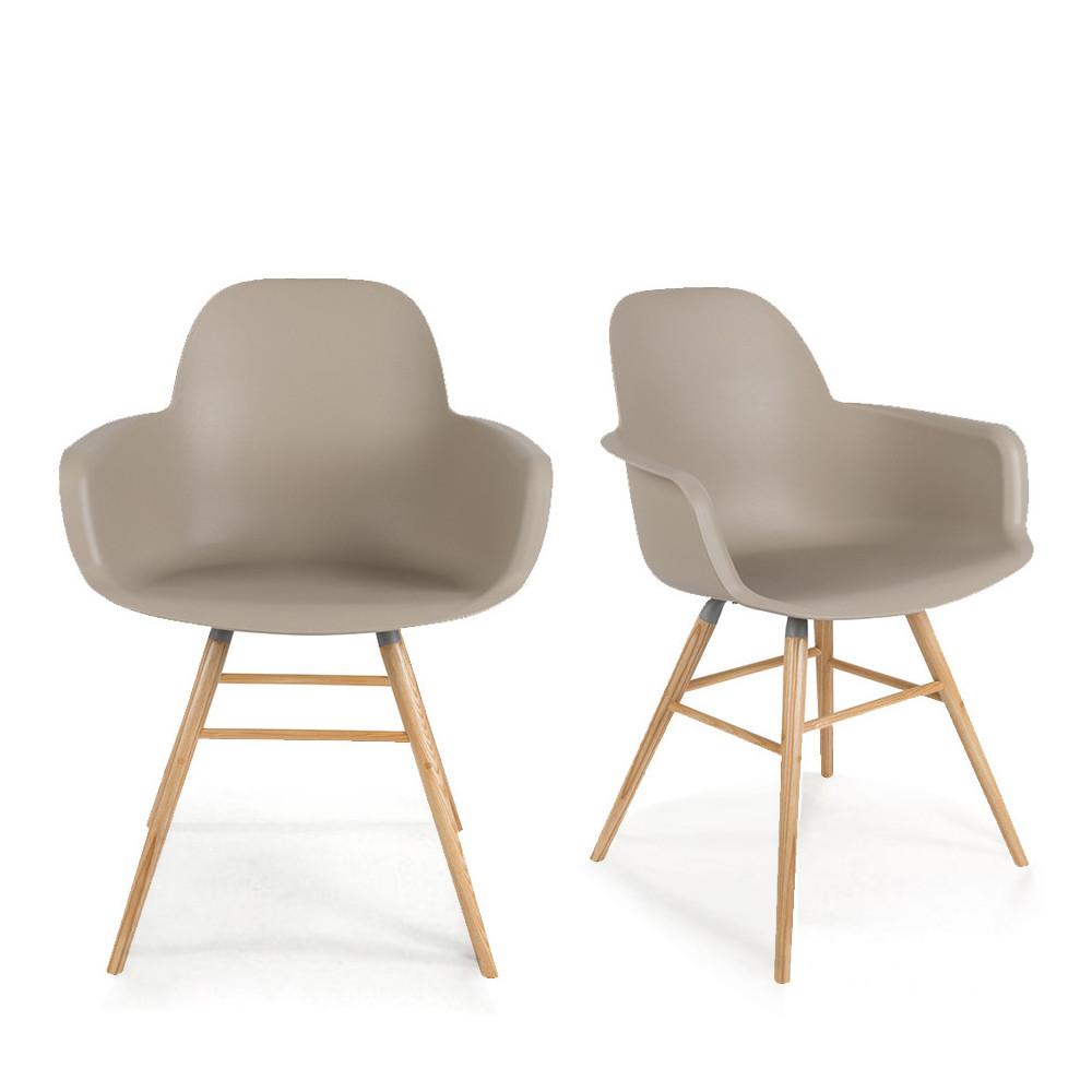 maison du monde 2 fauteuils de table en résine taupe