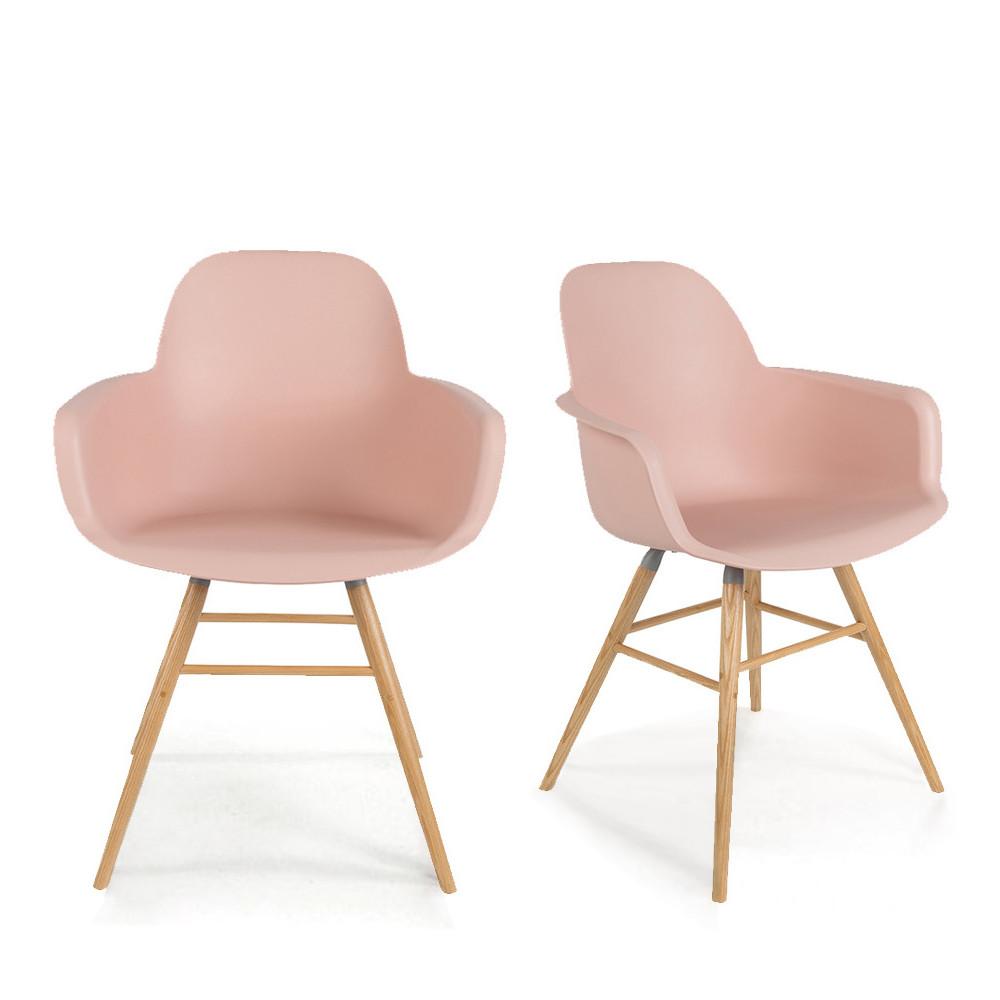 2 fauteuils de table en résine rose