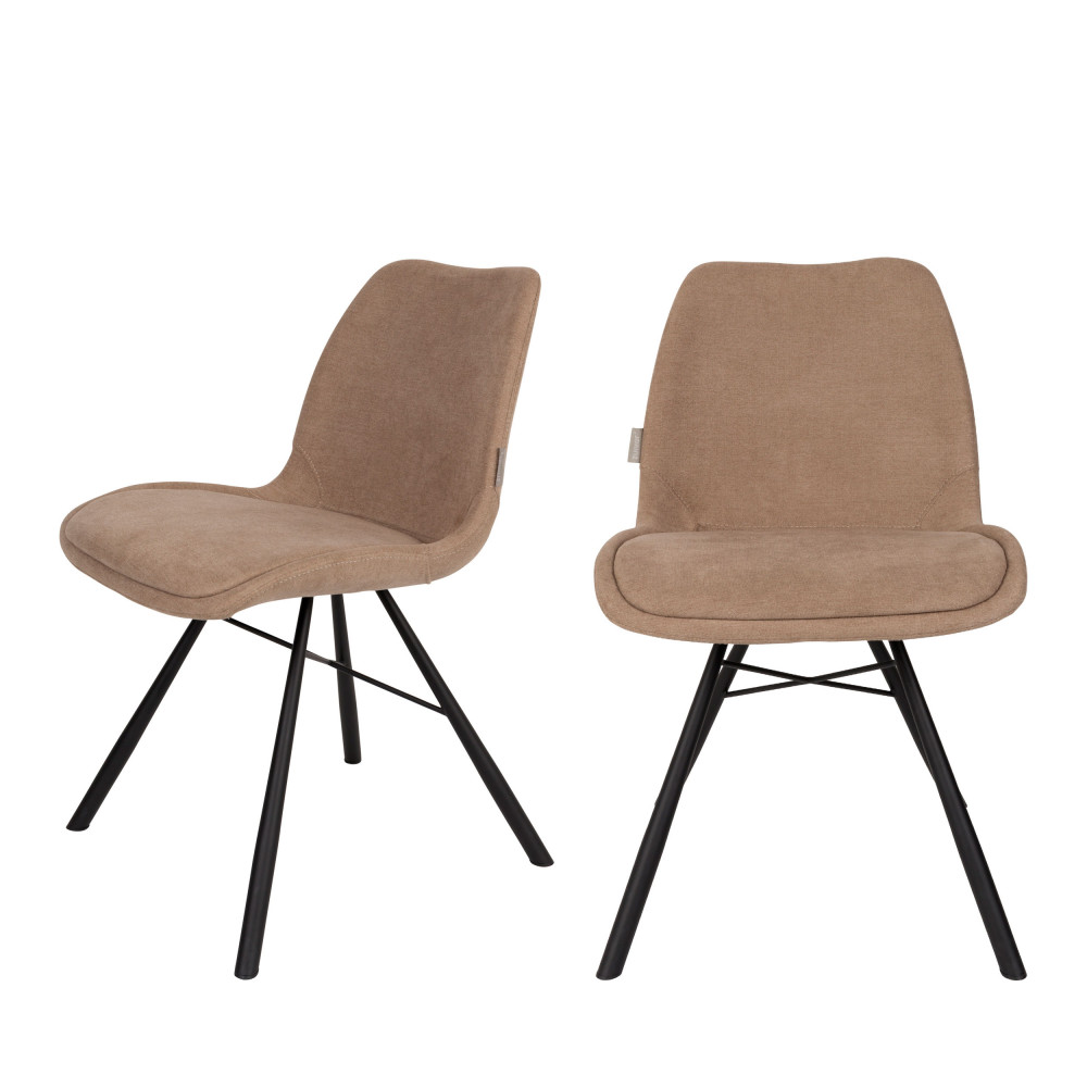 2 chaises tissu beige