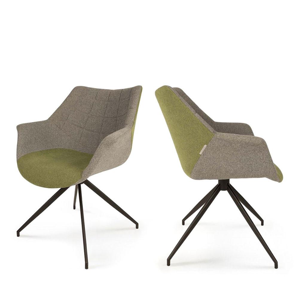 2 fauteuils de table design vert