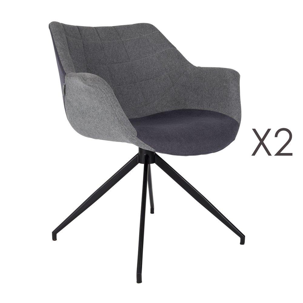 2 fauteuils de table design gris