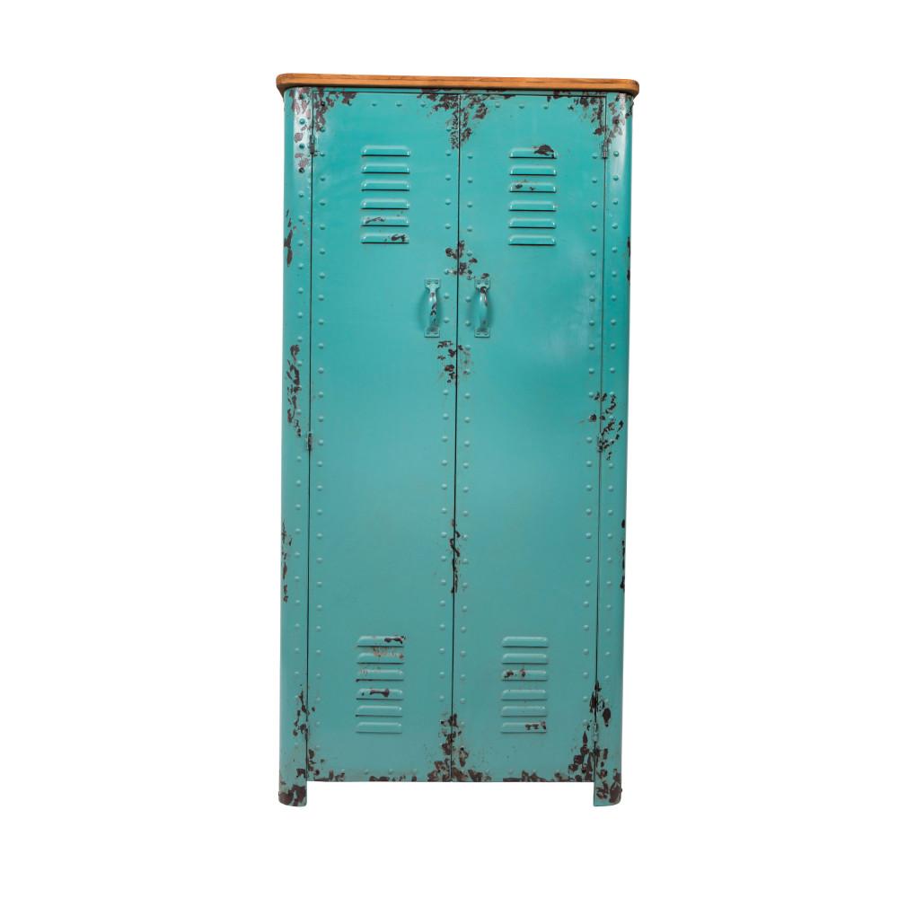 Armoire casier en métal turquoise (photo)
