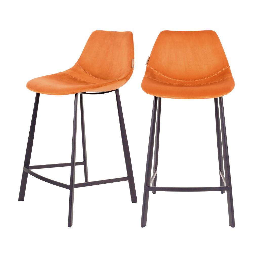 2 tabourets de bar en velours 65cm orange