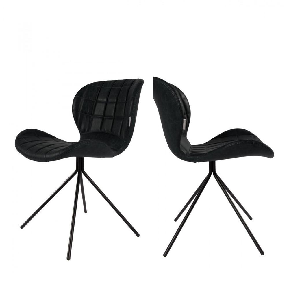 maison du monde 2 chaises design skin noir