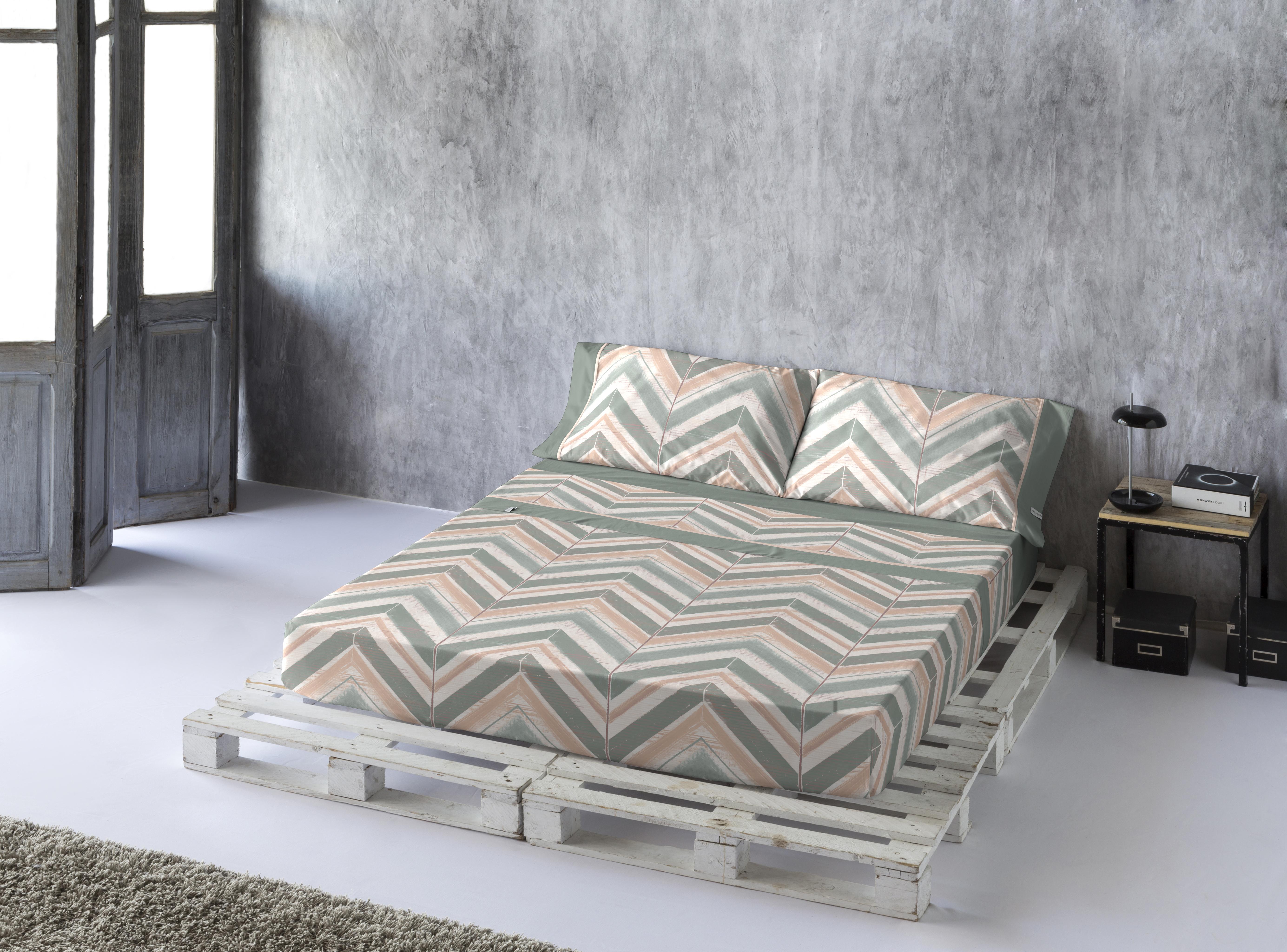 Drap de lit en coton bicolore 160x280