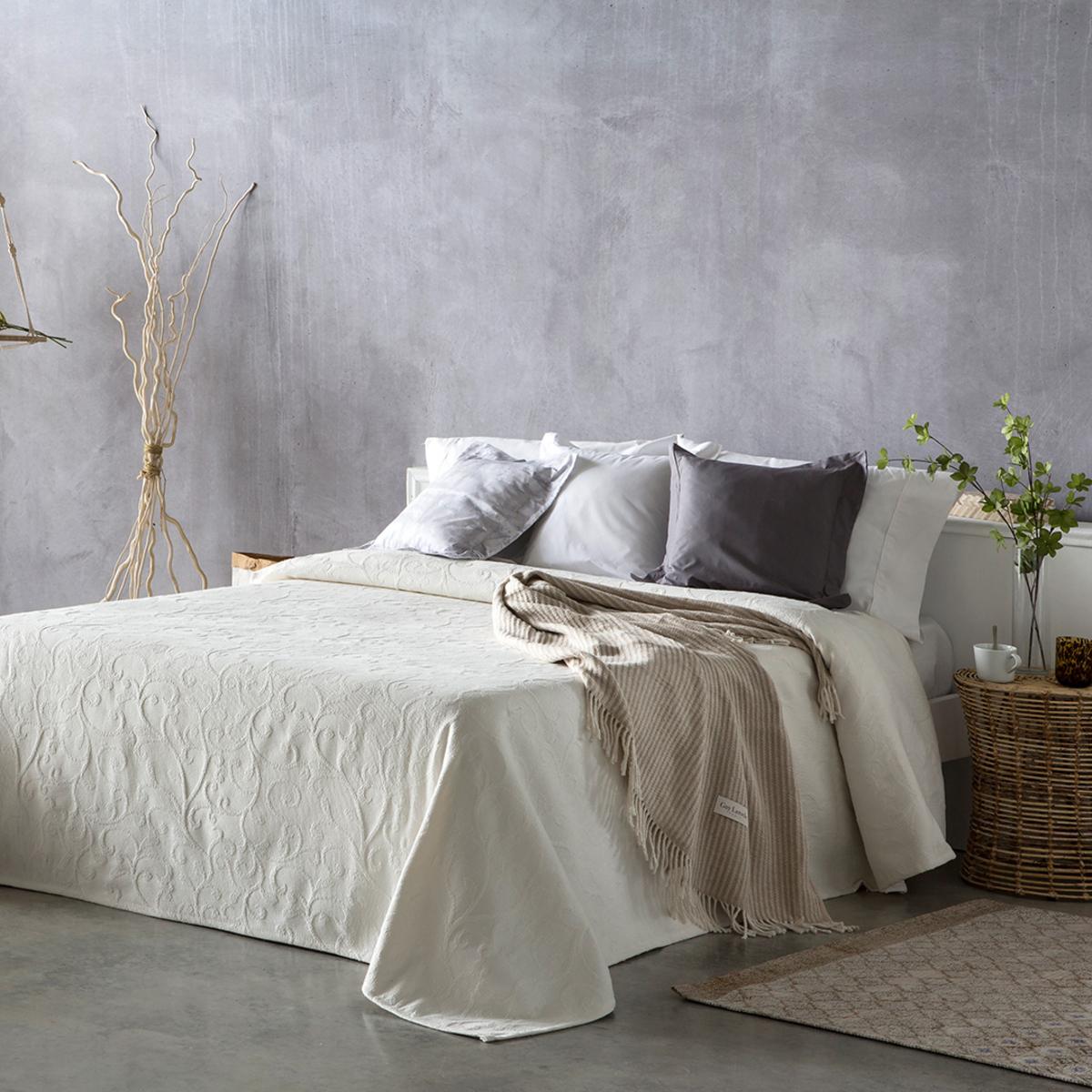 Couvre lit en coton beige 180x270