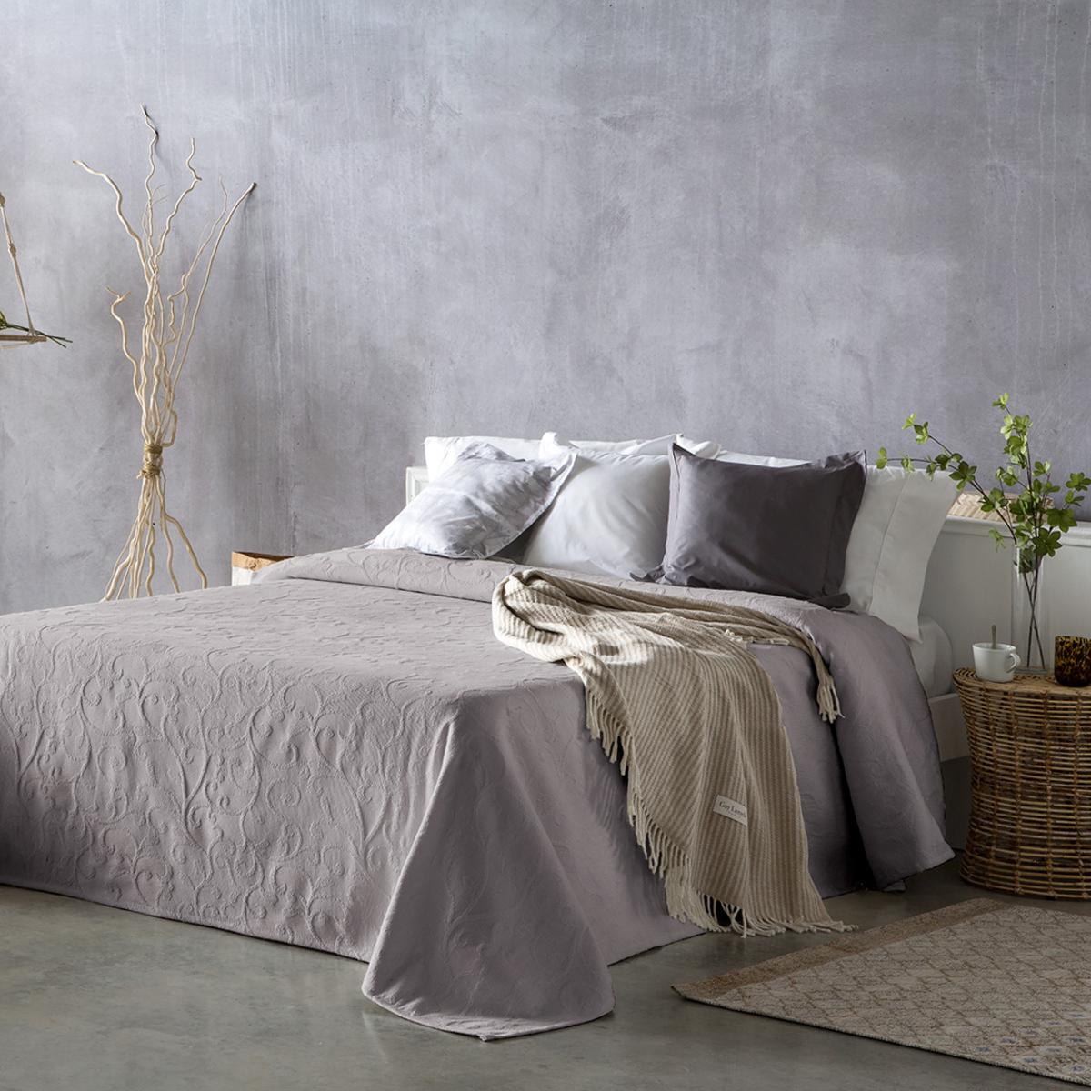 Couvre lit en coton gris 230x270