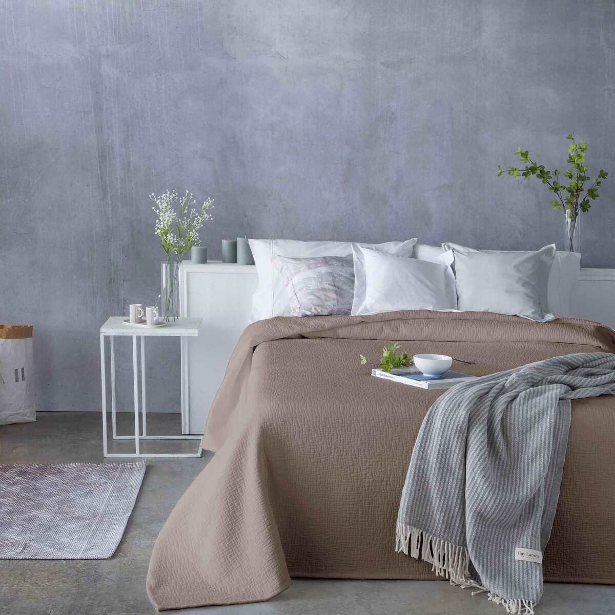 Couvre lit en coton marron 250x270