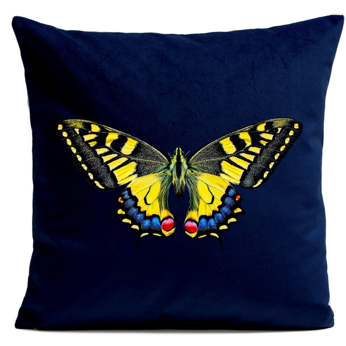 Coussin velours carré imprimé papillons bleu foncé 60x60