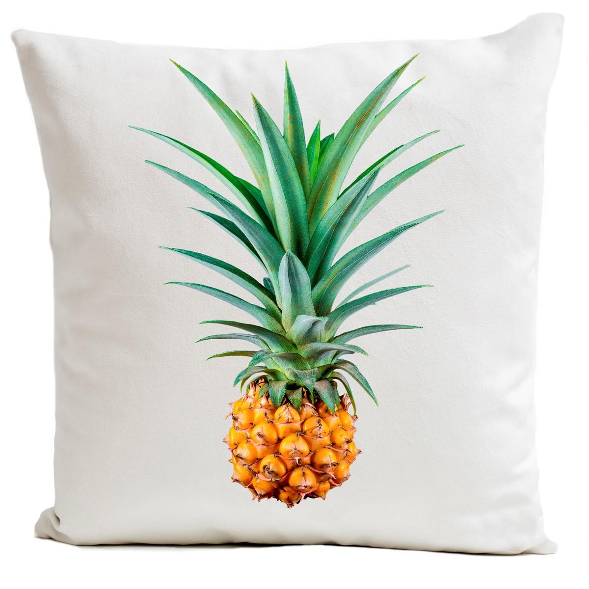 Coussin velours carré imprimé fruits blanc 60x60