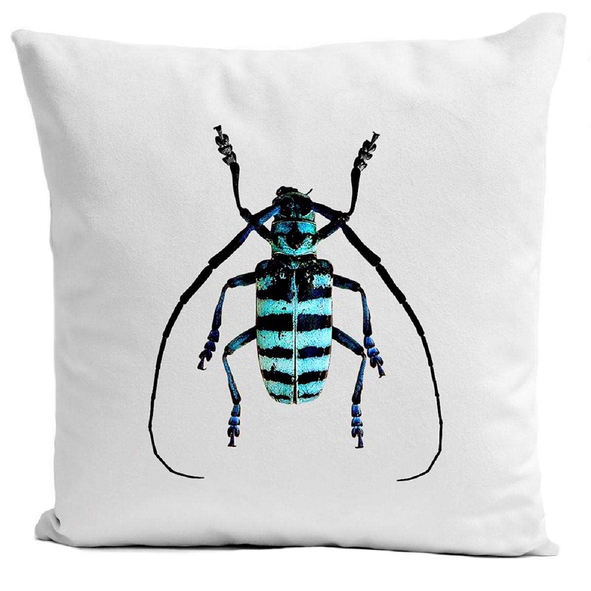Coussin velours carré imprimé insectes blanc 40x40