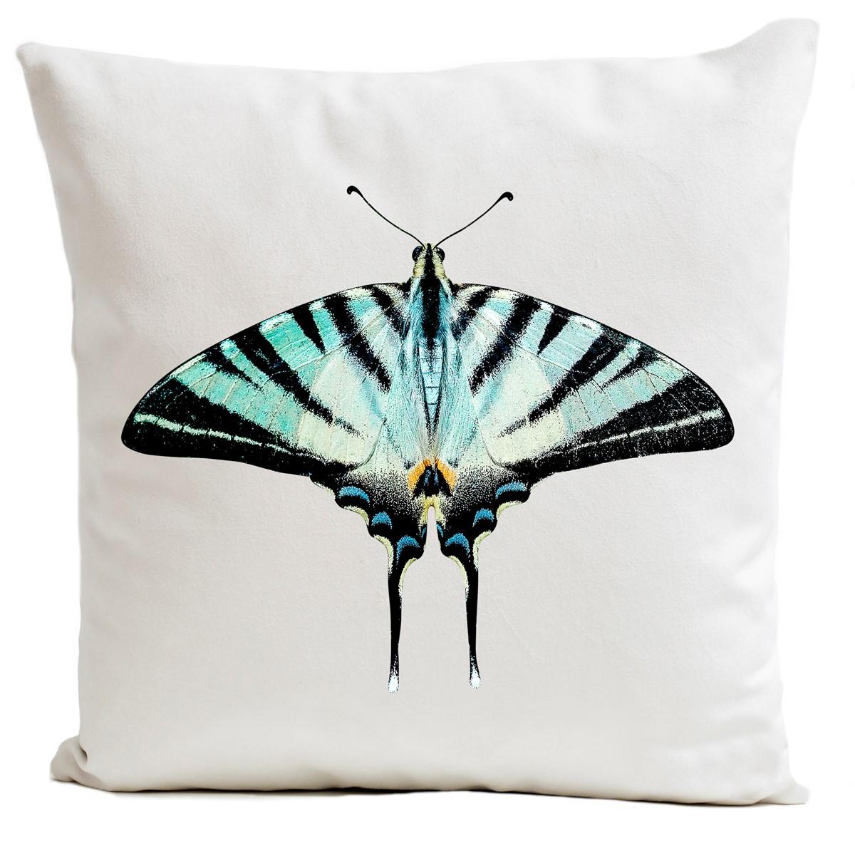Coussin velours carré imprimé papillons blanc 40x40