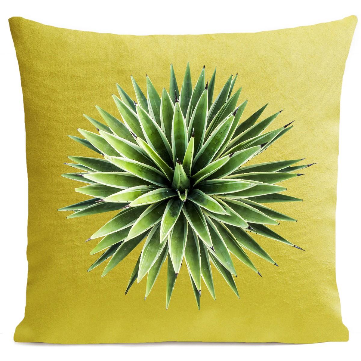 Coussin velours carré imprimé floraux jaune vif 40x40