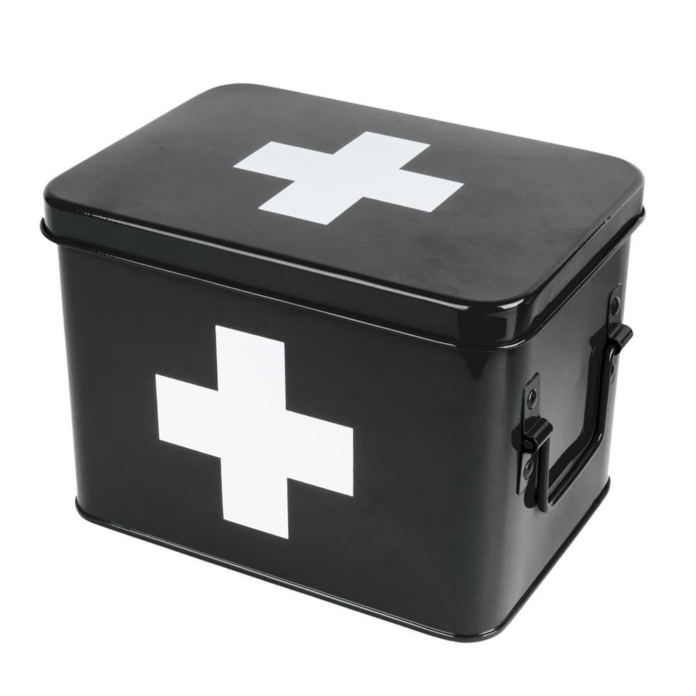 Boîte à pharmacie noire 21,5x15,5cm