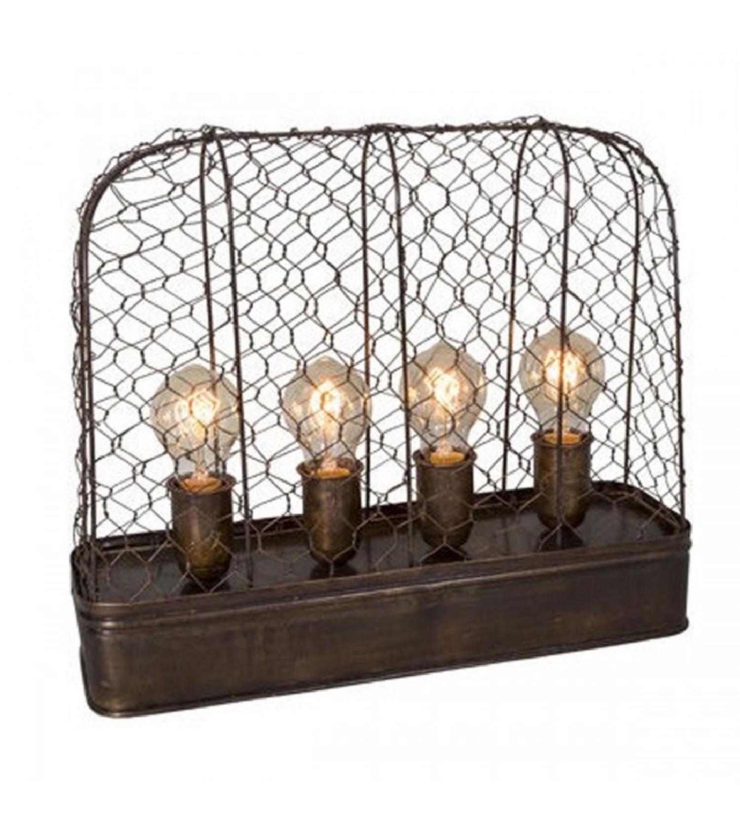 Lampe à poser style industriel métal 4 ampoules