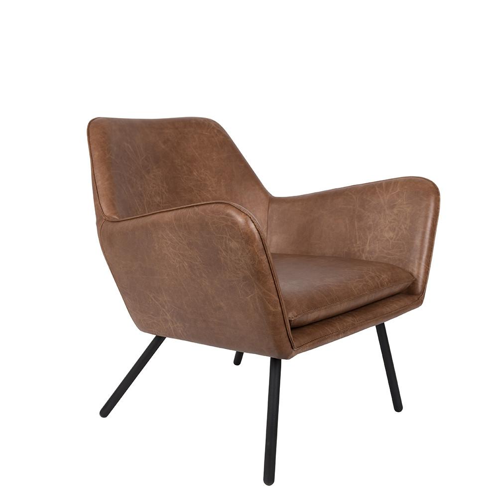 Fauteuil lounge vintage marron