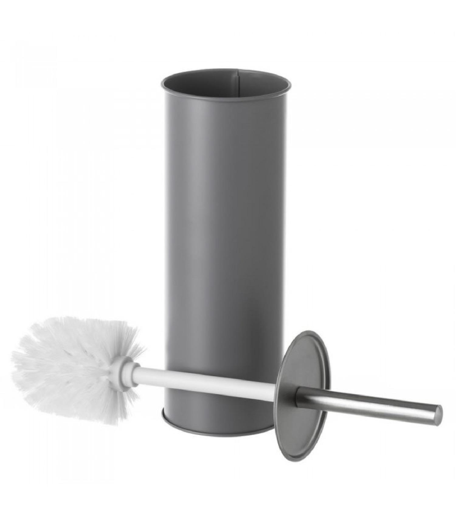 Balai brosse WC en métal gris