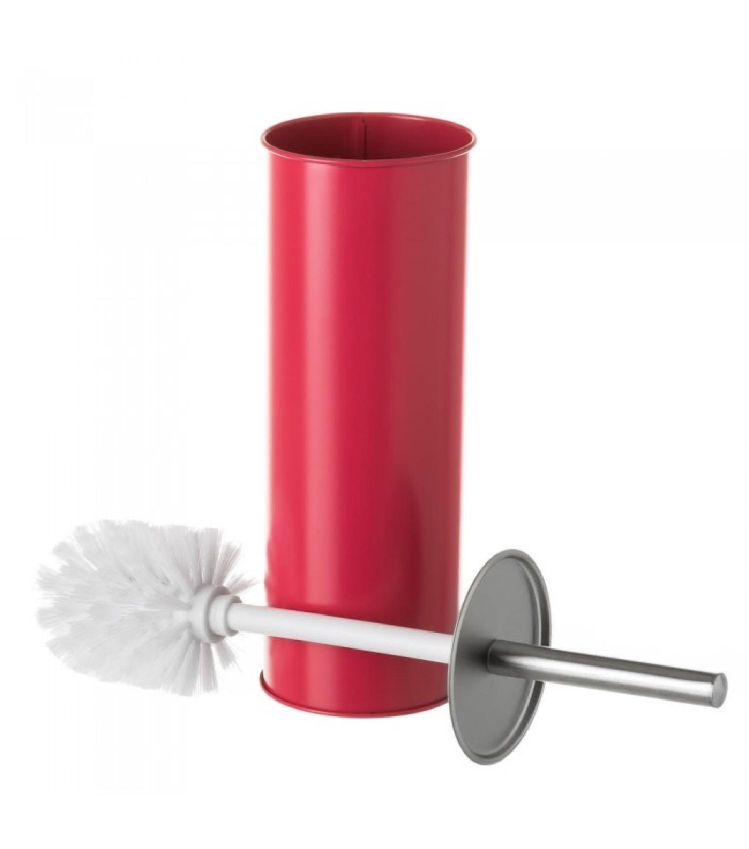 Balai brosse WC en métal rouge