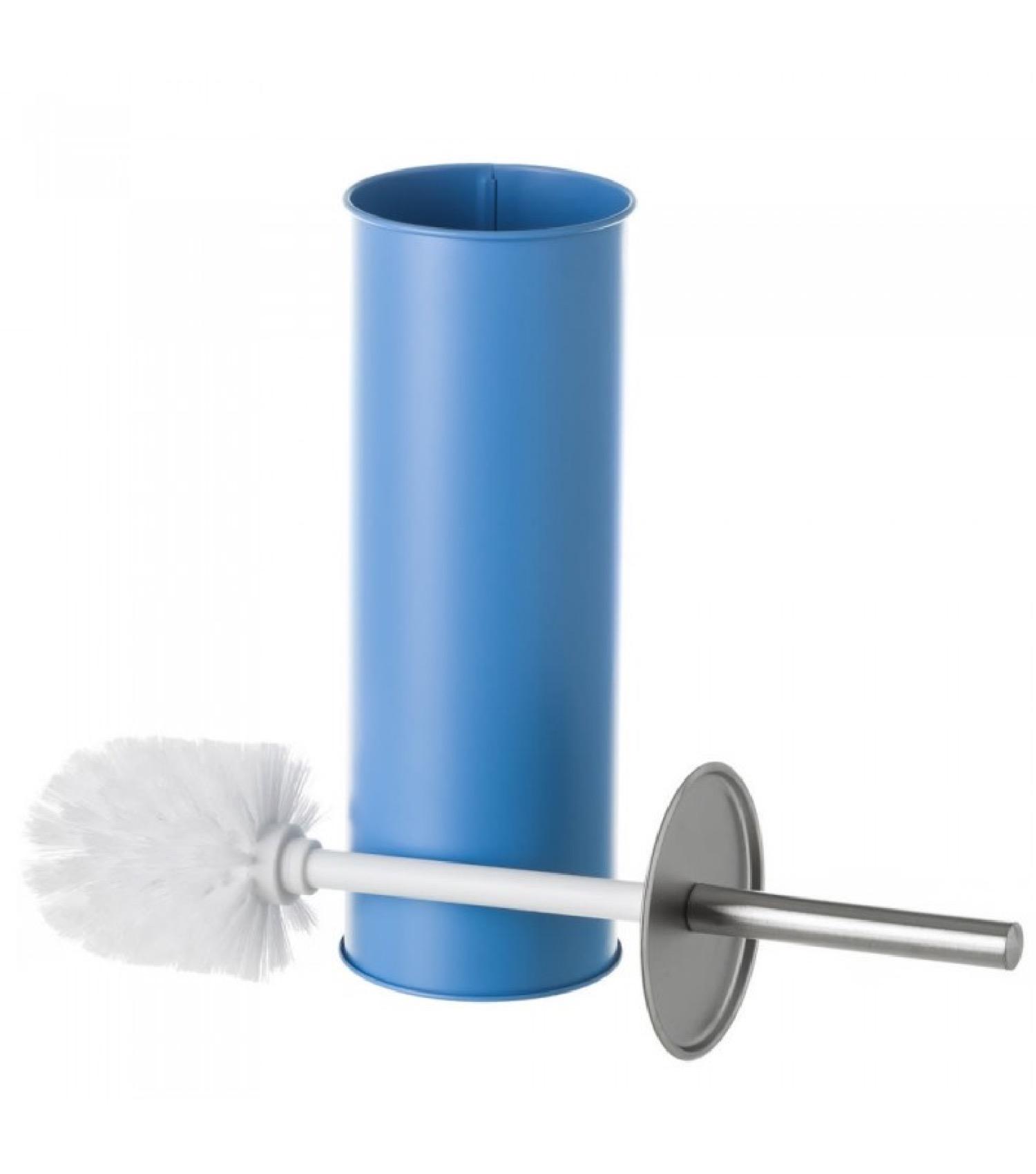 Balai brosse WC en métal bleu