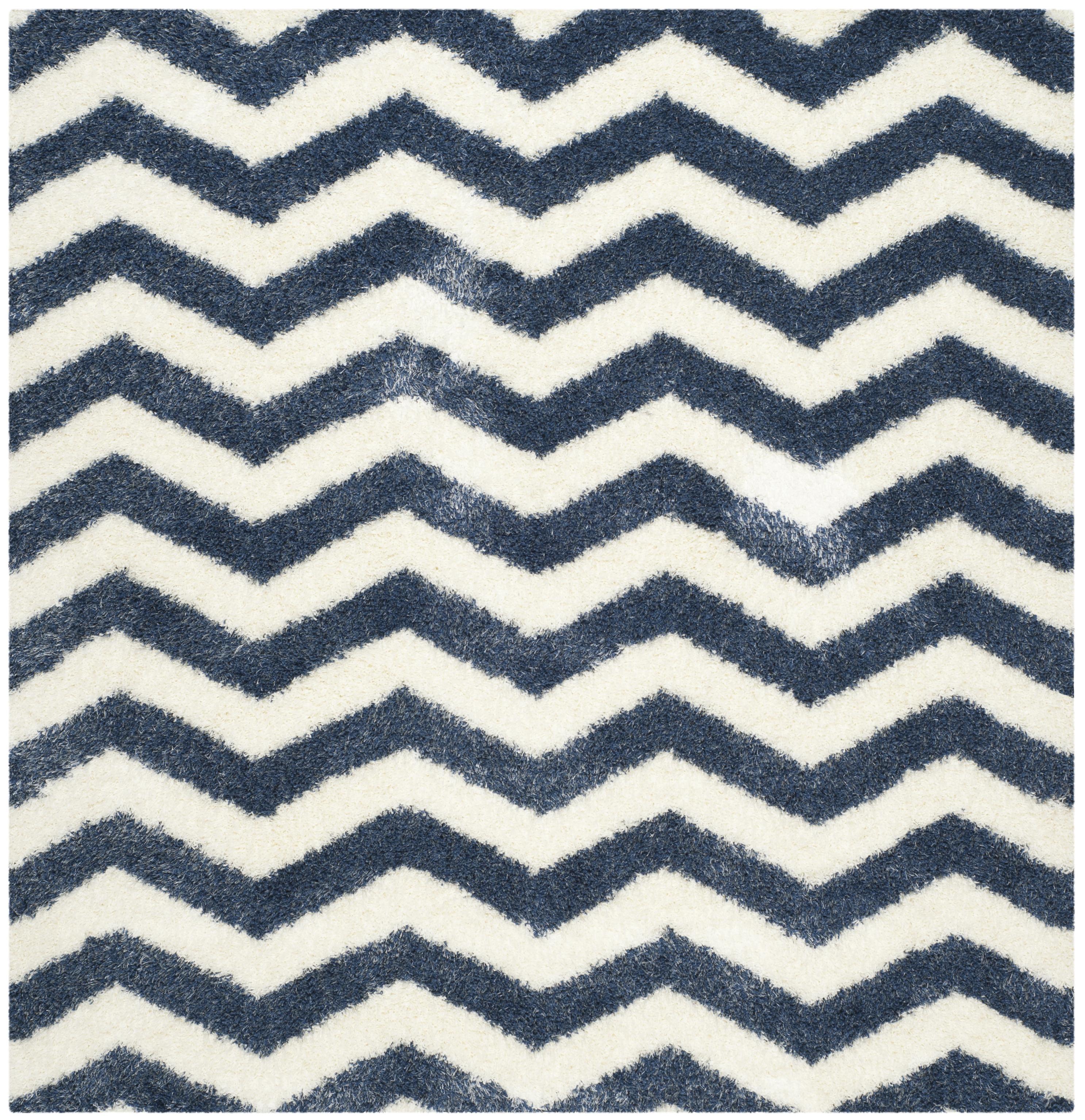 Tapis de salon shaggy  ivoire et bleu 200x200