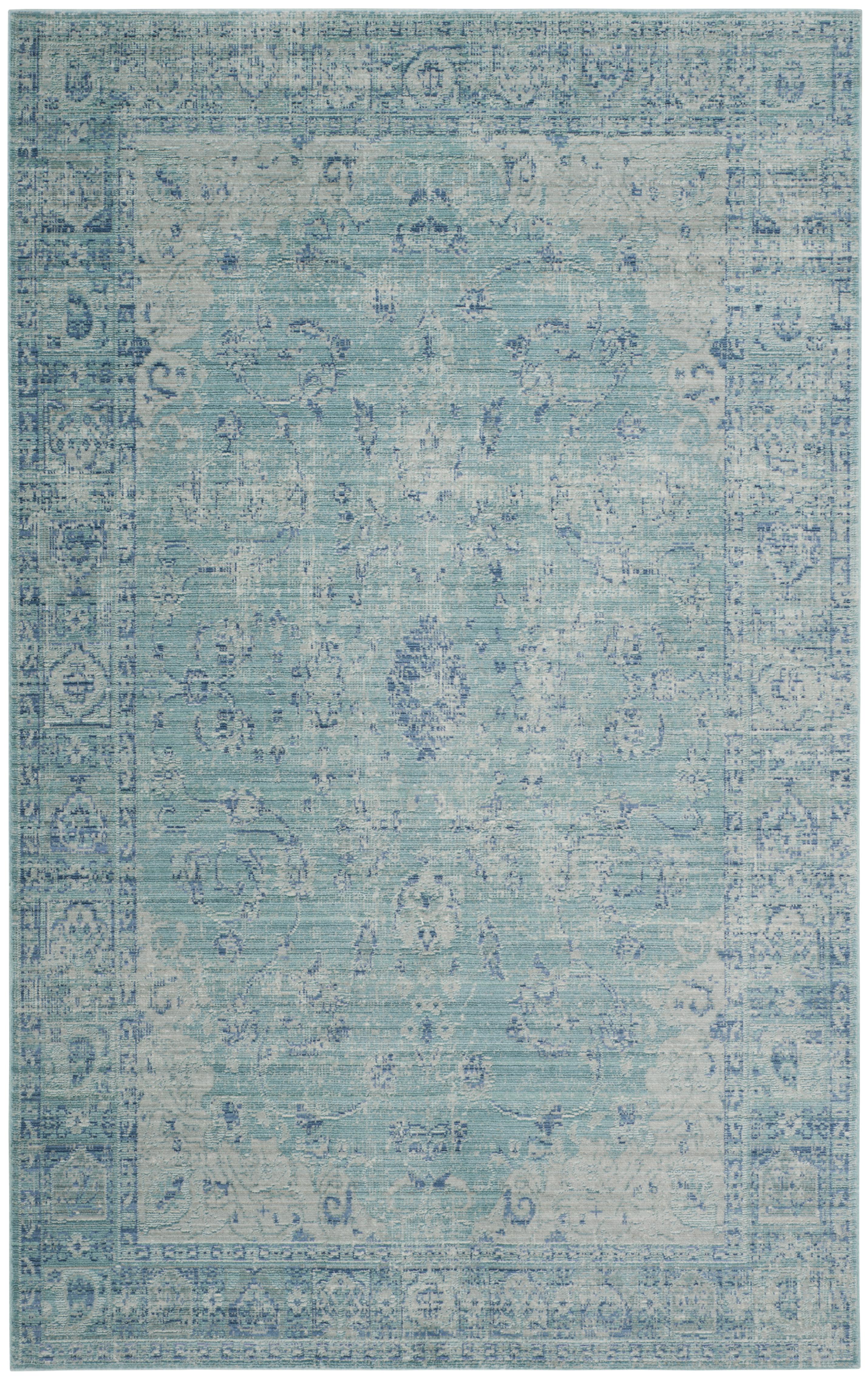 Tapis de salon d'inspiration vintage bleu canard et multicolore 1...