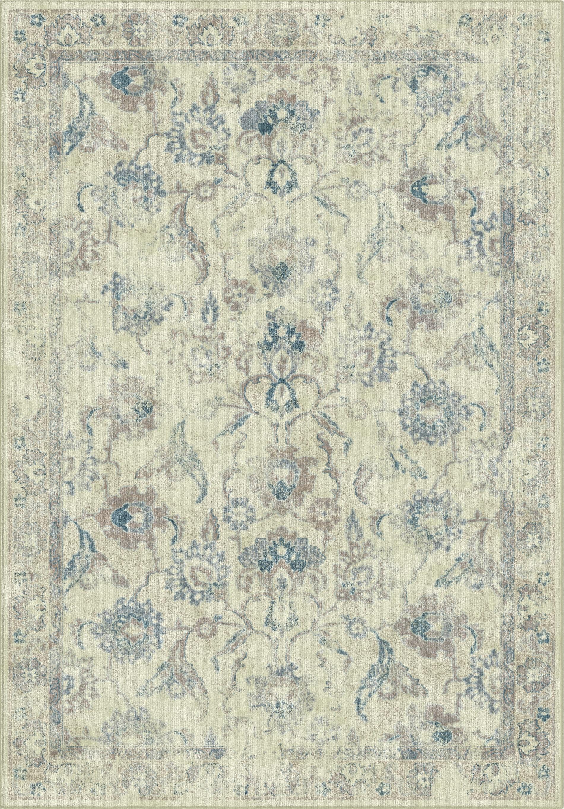 Tapis de salon d'inspiration vintage gris et bleu  160x230