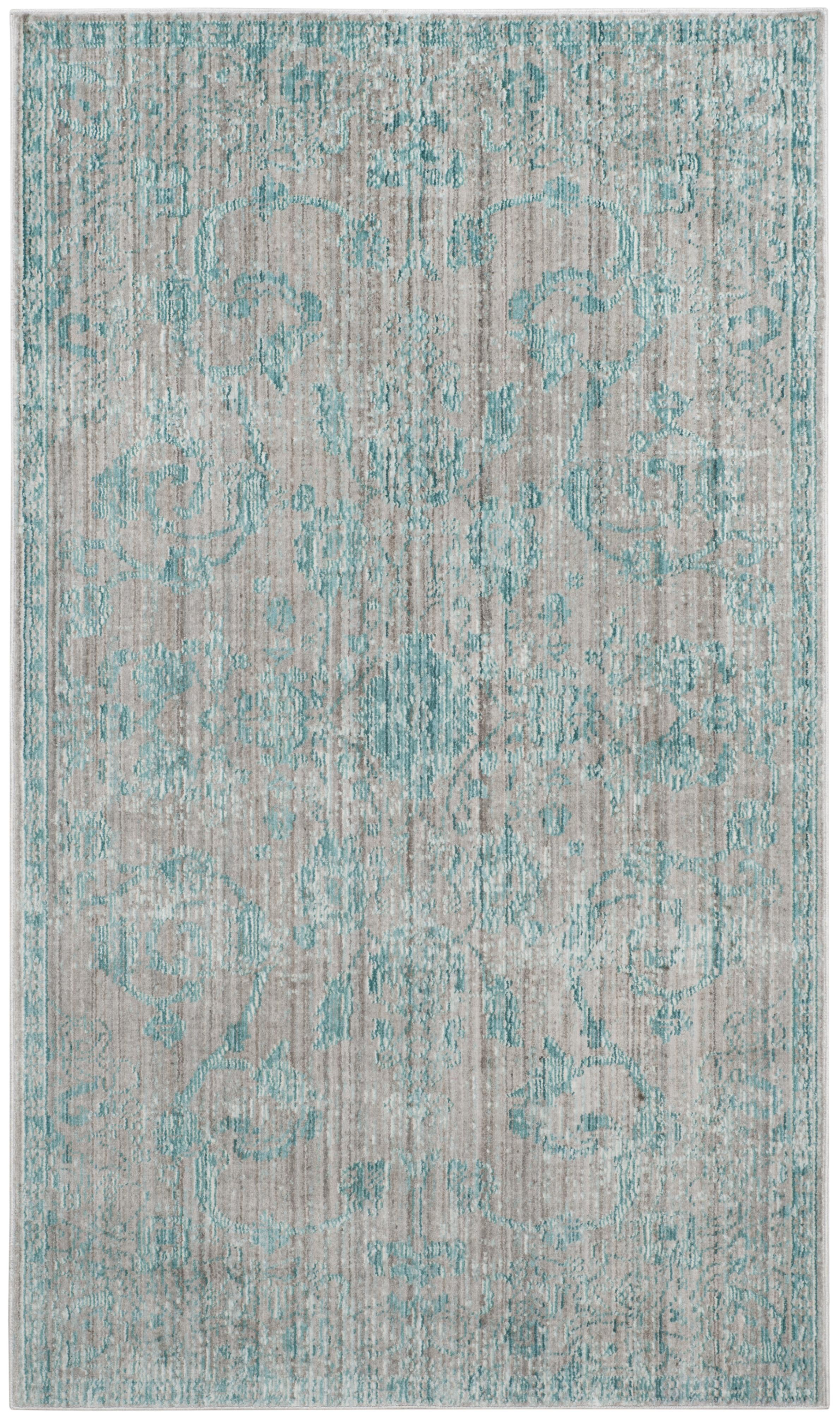 Tapis de salon d'inspiration vintage bleu et multicolore 121x182