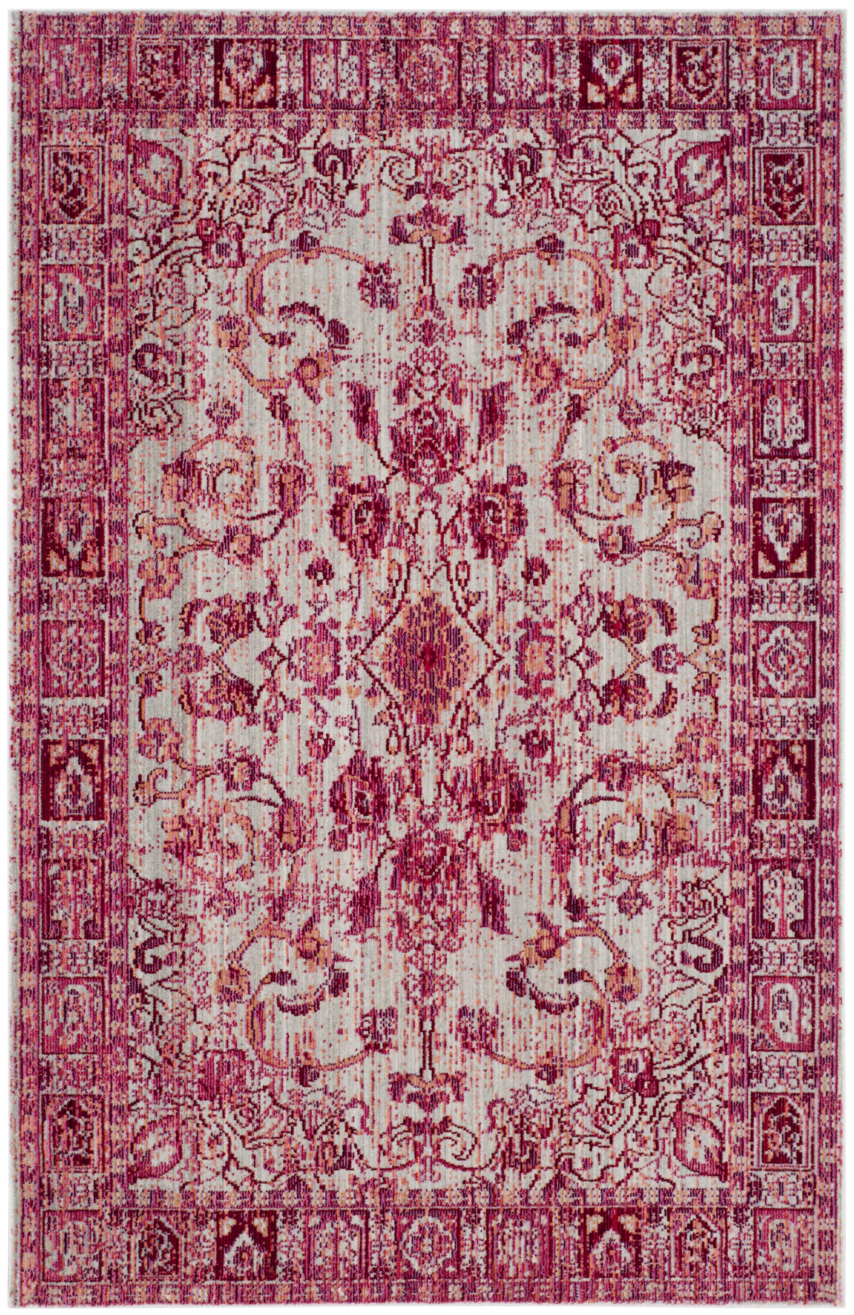 Tapis de salon d'inspiration vintage fuchsia et multicolore 120x180
