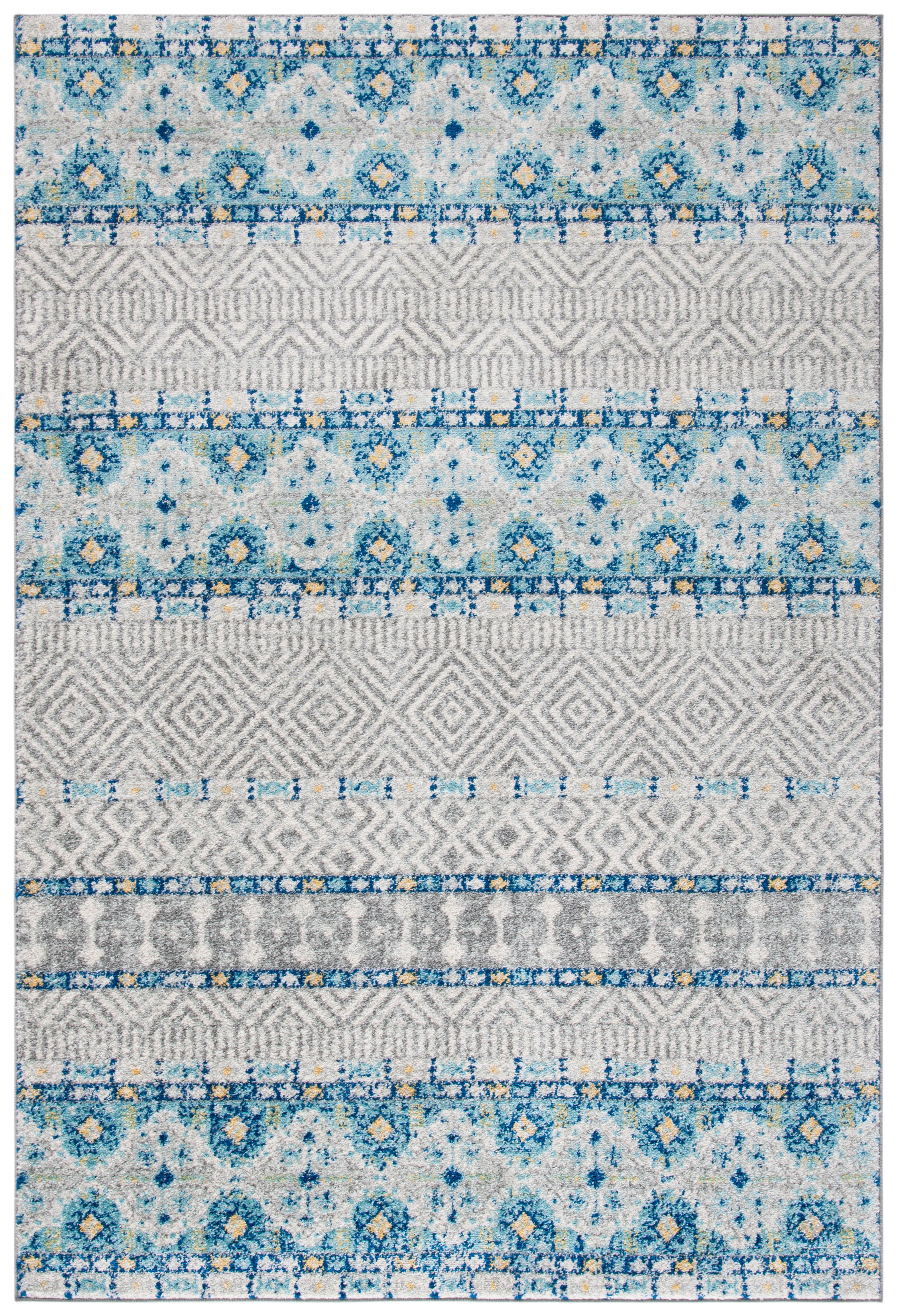 Tapis de salon contemporain gris et turquoise 154x228