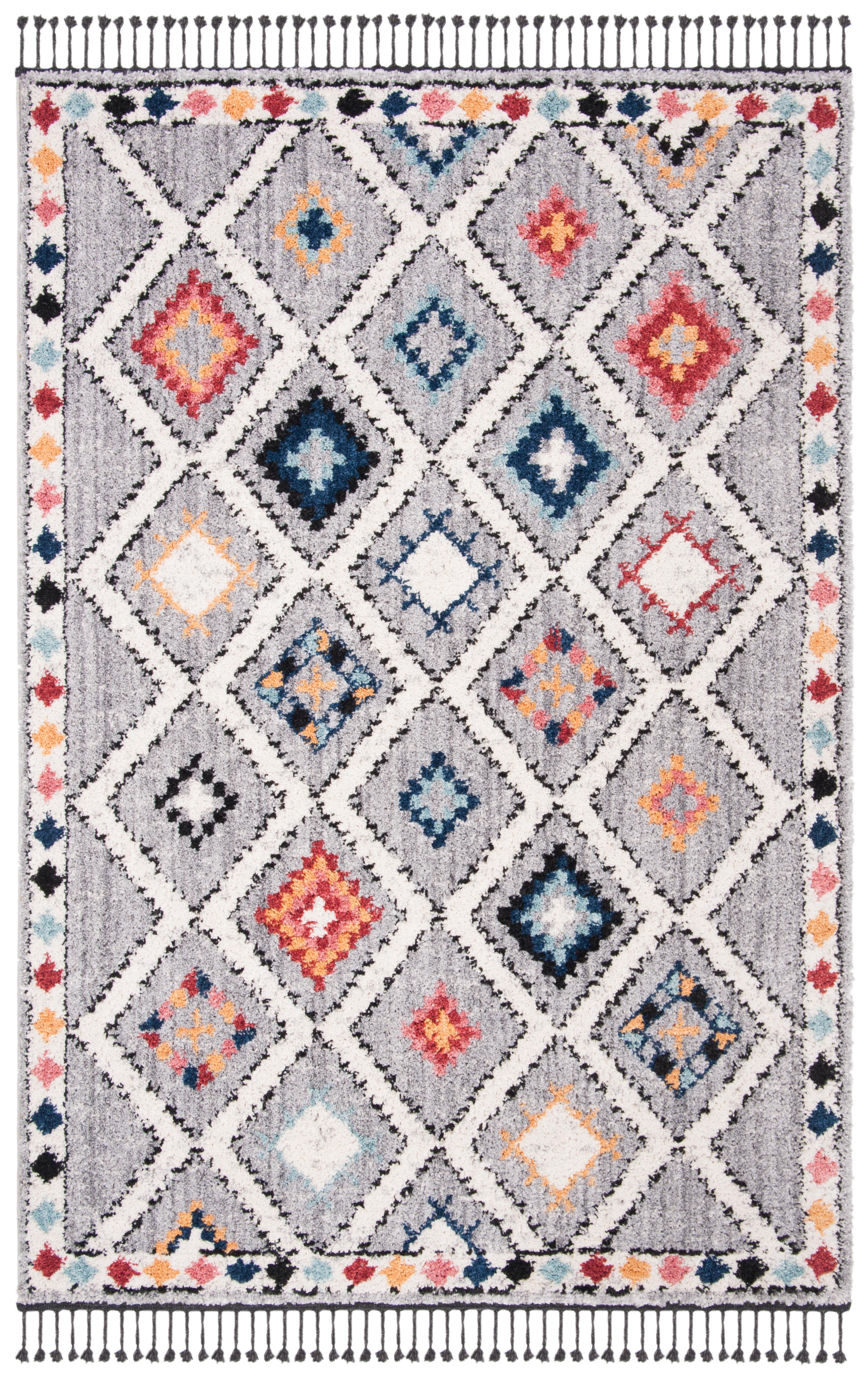 Tapis de salon contemporain gris et multicolore 121x182