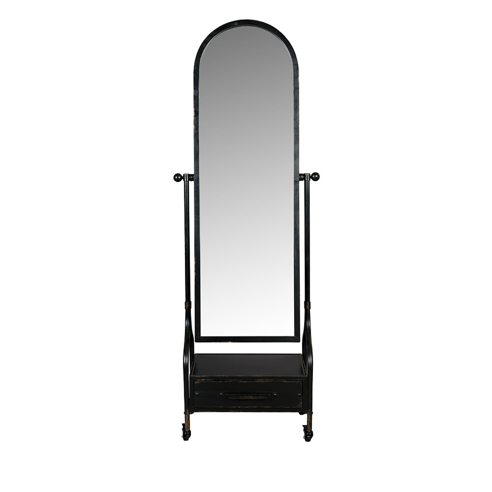 Miroir sur pied en métal noir