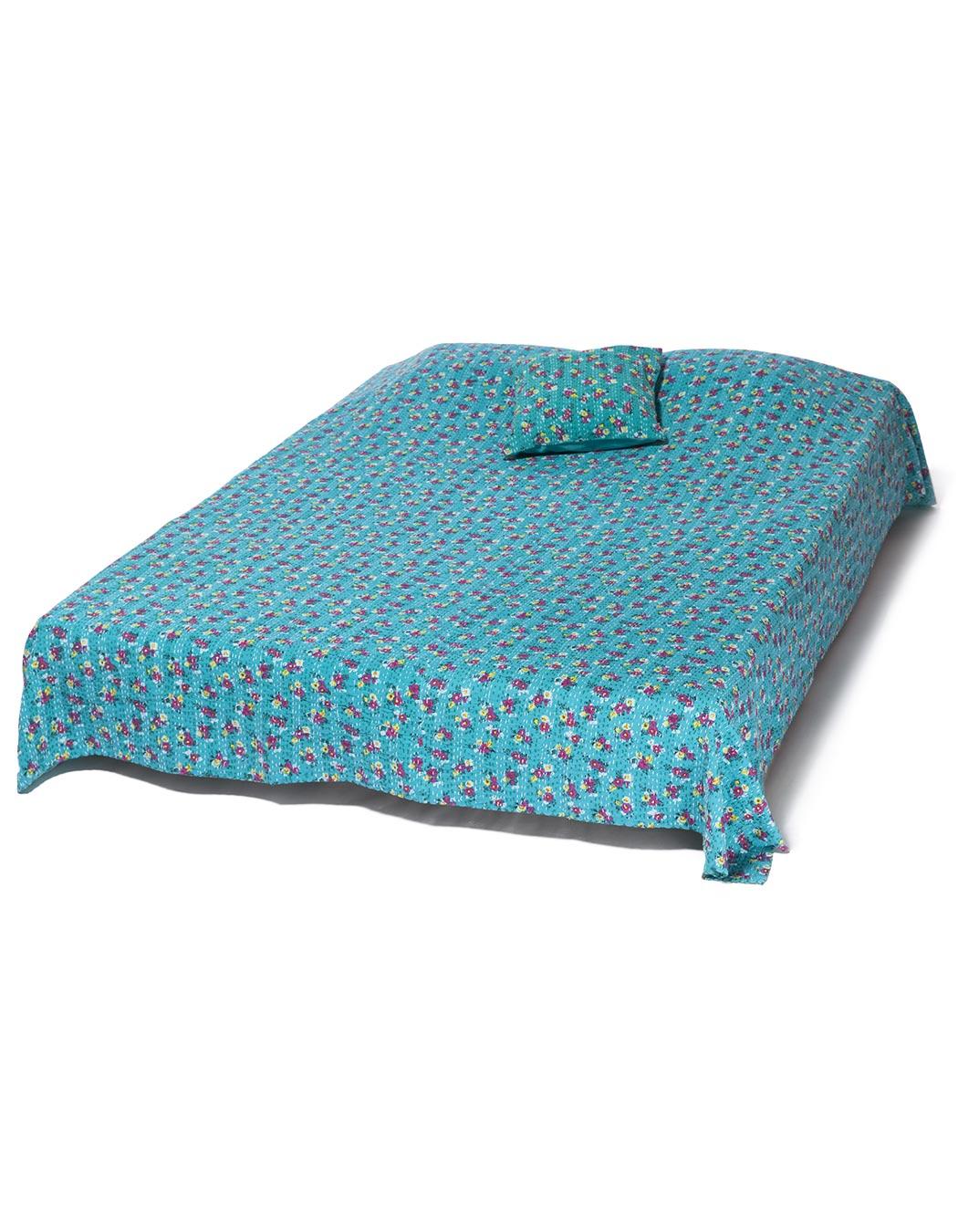Jeté de lit surpiqué en coton aqua 140 x 230